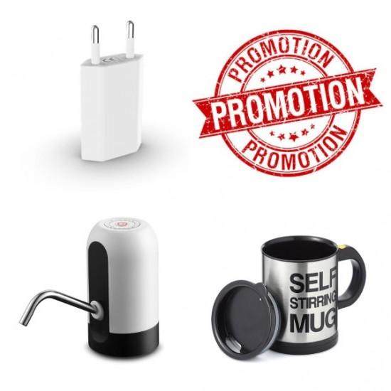 Промоция Електрическа помпа за вода + Саморазбъркваща чаша + Адаптор
