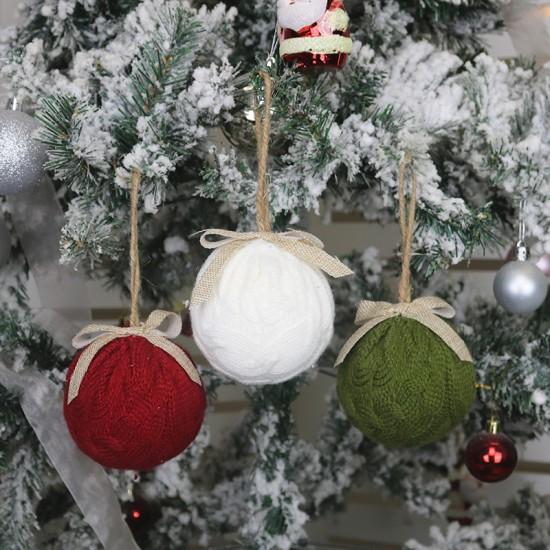 Коледна декорация плетена топка за елха