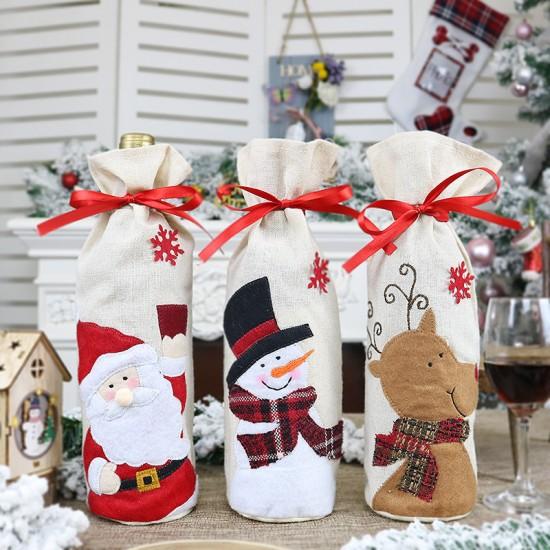Коледна декорация чувалче за бутилка
