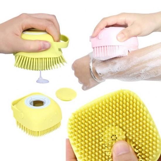 Силиконова гъба за баня с резервоарче за сапун на едро