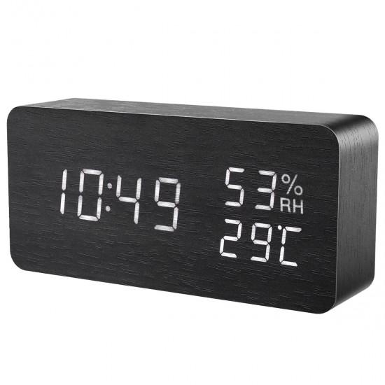 Луксозен дървен дигитален LED часовник с вграден термометър
