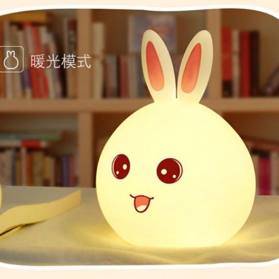 Сладка детска нощна LED лампа заек с тъч смяна на цветовете и USB на едро