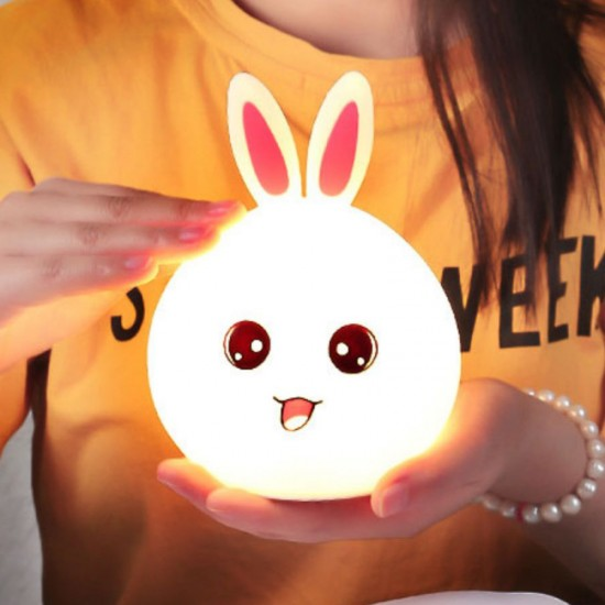 Сладка детска нощна LED лампа заек с тъч смяна на цветовете и USB