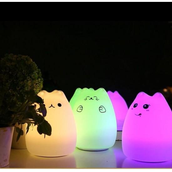 Сладка детска нощна LED лампа коте с тъч смяна на цветовете и USB