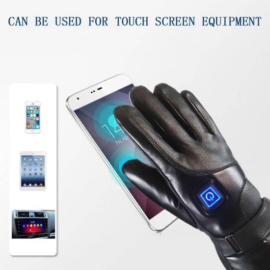 Смарт затоплящи зимни кожени ръкавици на батерии
